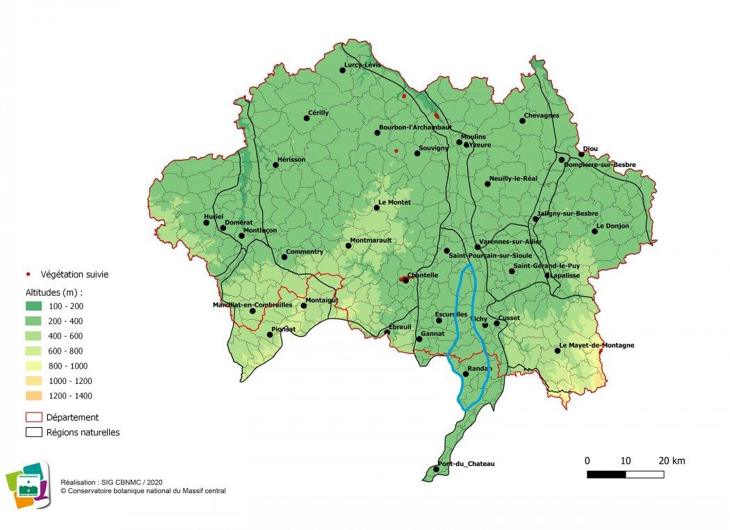 Suivi de végétations et d'habitats de la Forêt et bocage du Val d'Allier vichyssois