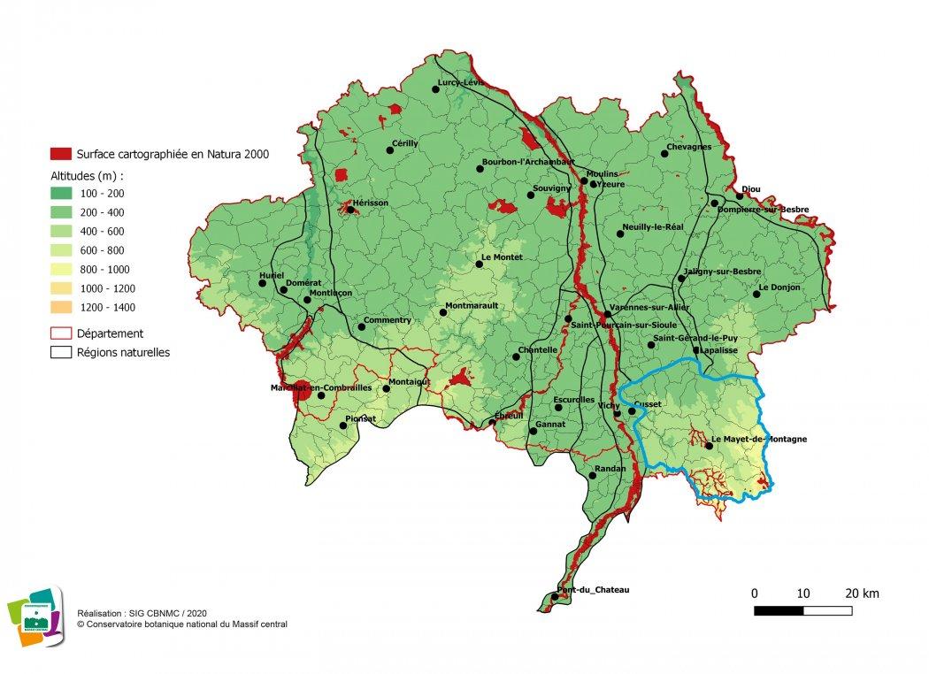 Cartographie de la Montagne bourbonnaise