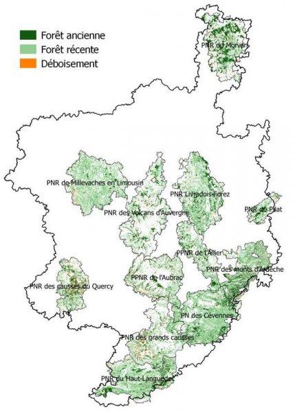 Carte des parcs naturels regionaux et nationaux